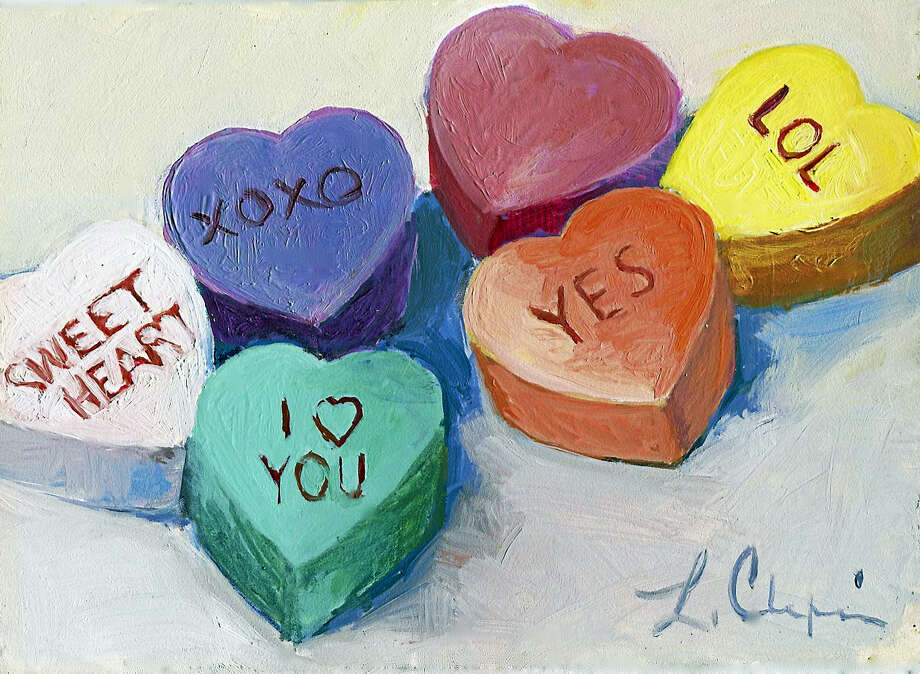Conversation Hearts, by Lorraine Chapin (oil) of Southbury. Photo: Contributed Photo