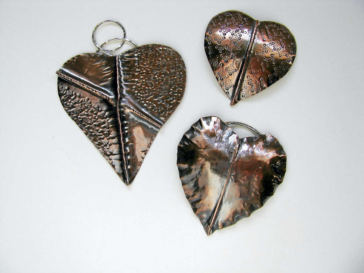 Fold-formed Copper Heart Necklace Pendants, by Lori Meehan of Brookfield.