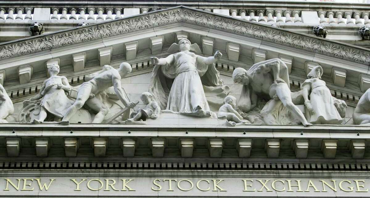 This file photo shows the New York Stock Exchange building in New York.