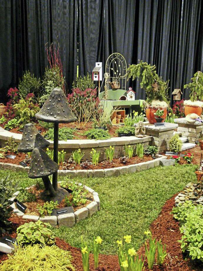 Contributed photoA landscape mushroom sculpture at the 2016 Connecticut Flower and Garden show. Photo: Digital First Media
