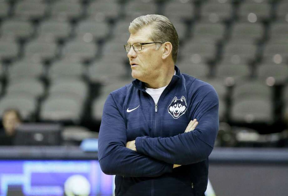 UConn women's basketball coach Geno Auriemma watches over his team a practice session for the women's NCAA Final Four Thursday in Dallas. Auriemma was named the Associated Press' Coach of the Year. Photo: LM OTERO — The Associated Press  / Copyright 2017 The Associated Press. All rights reserved.
