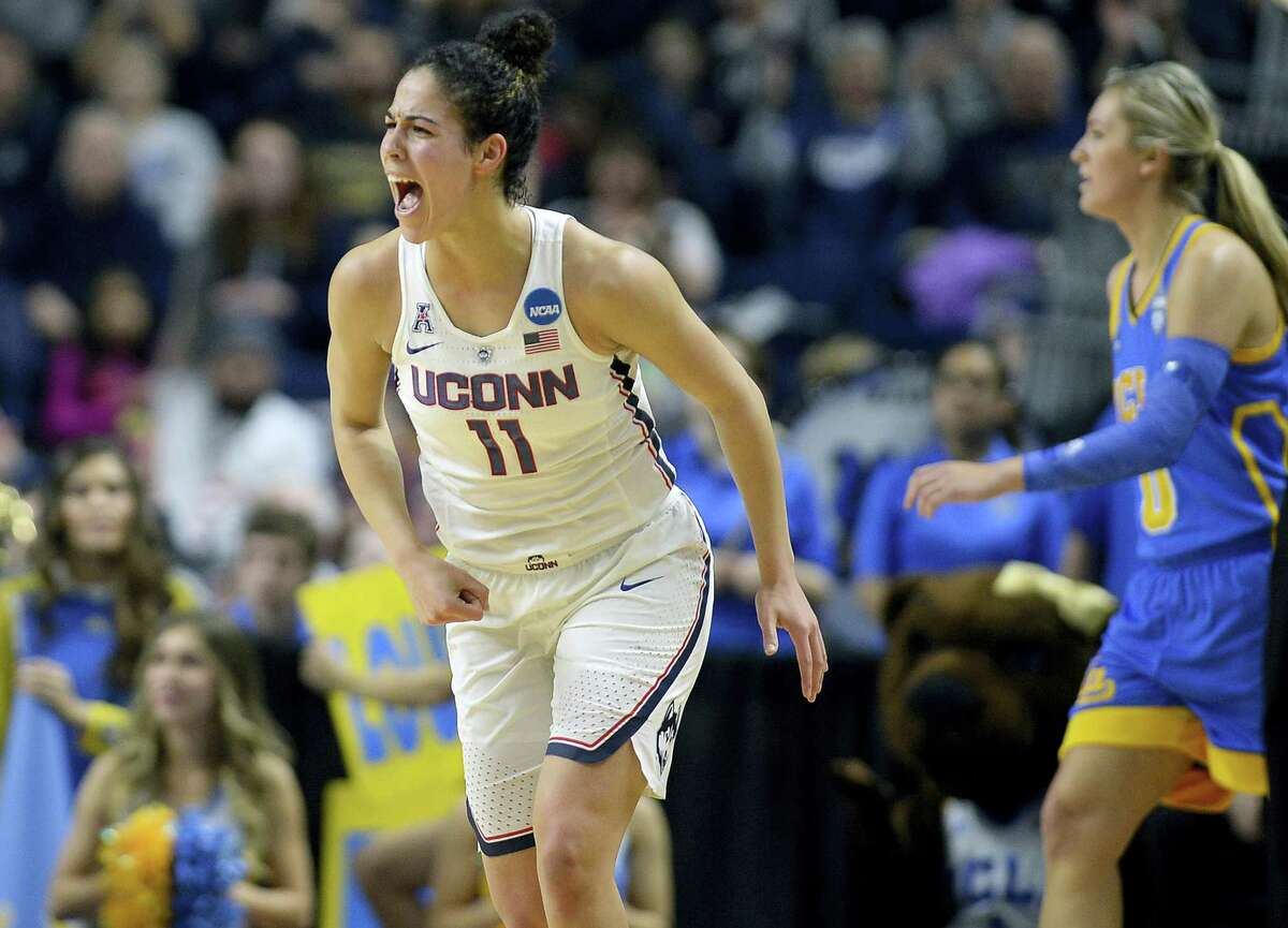 UConn's Kia Nurse reacts after a basket during the first half of a regional semifinal game against UCLA. Nurse will try and contain Mississippi State guard Morgan William in Friday's national semifinal.