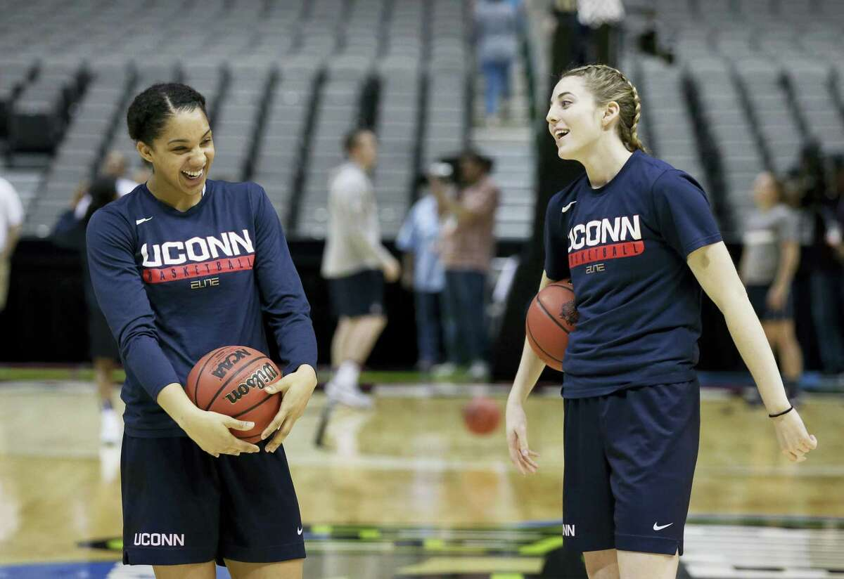 UConn guard Gabby Williams, left, and forward Katie Lou Samuelson, right, take part in a practice session for the women's NCAA Final Four Thursday in Dallas.