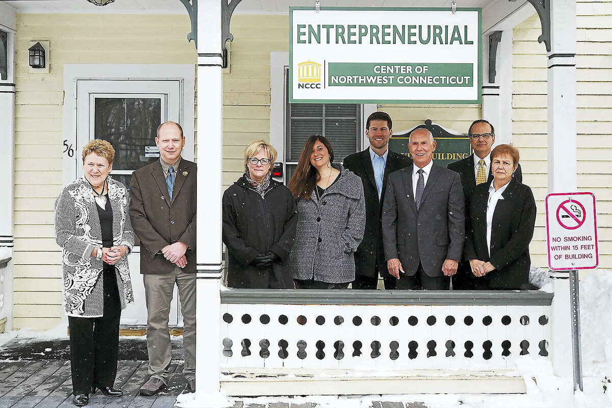Contributed photoGuests and officials at NCCC gather outside the new entrepreneurial center.