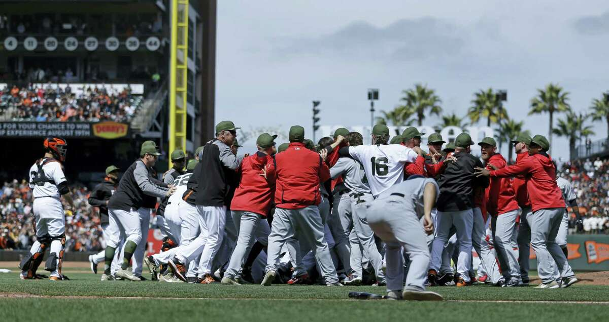 Washington Nationals and San Francisco Giants brawl in the eighth inning of a baseball game Monday, May 29, 2017 in San Francisco.