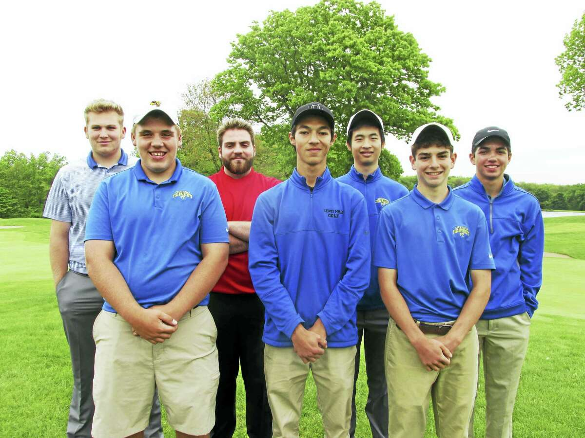 Berkshire League Golf All-Stars are front row, left to right: Dylan Keith, Gilbert; Tyler Goulet, Lewis Mills; Conor Bailey, Gilbert; back row, left to right: Jey Herman, Nonnewaug; Sean Brady, Wamogo; Hillson Liu, Gilbert; Colby Norton, Lewis Mills.
