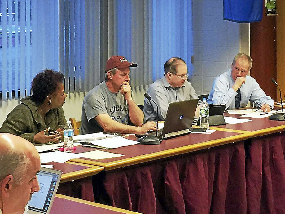The Torrington Board of Education considered a conceptual plan presented by Superintendent Denise Clemens, far left, to have a zero-increase budget for the city schools for the 2017-18 year. Photo: Ben Lambert — The Register Citizen