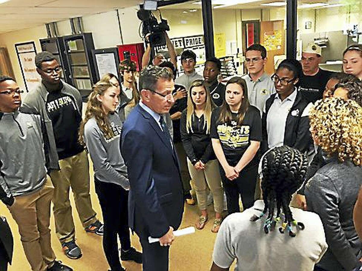 Gov. Dannel P. Malloy talks to East Hartford High School students