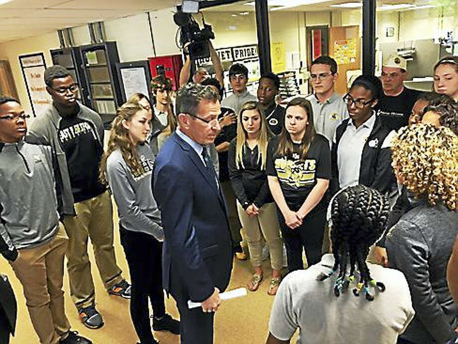 Gov. Dannel P. Malloy talks to East Hartford High School students Photo: Digital First Media