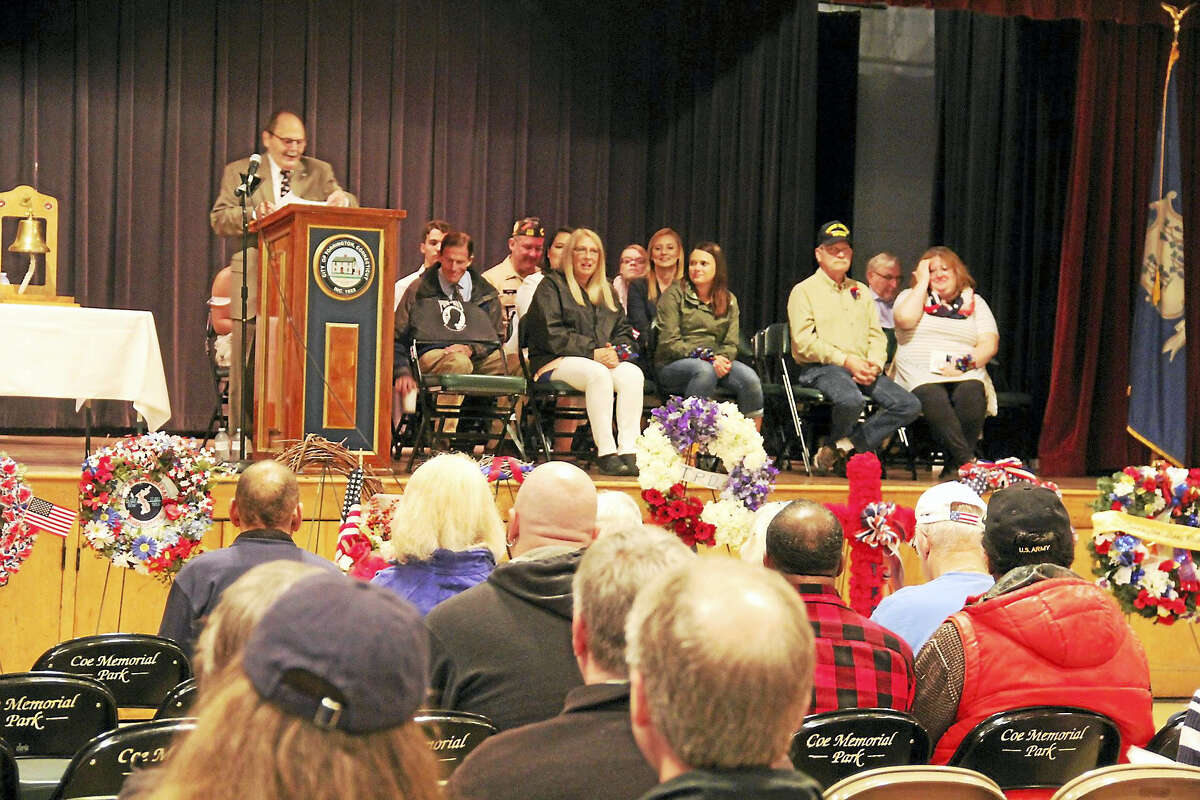 Residents gathered to honor Len Dube during Torrington's annual Memorial Day ceremony in the Coe Memorial Park Civic Center.