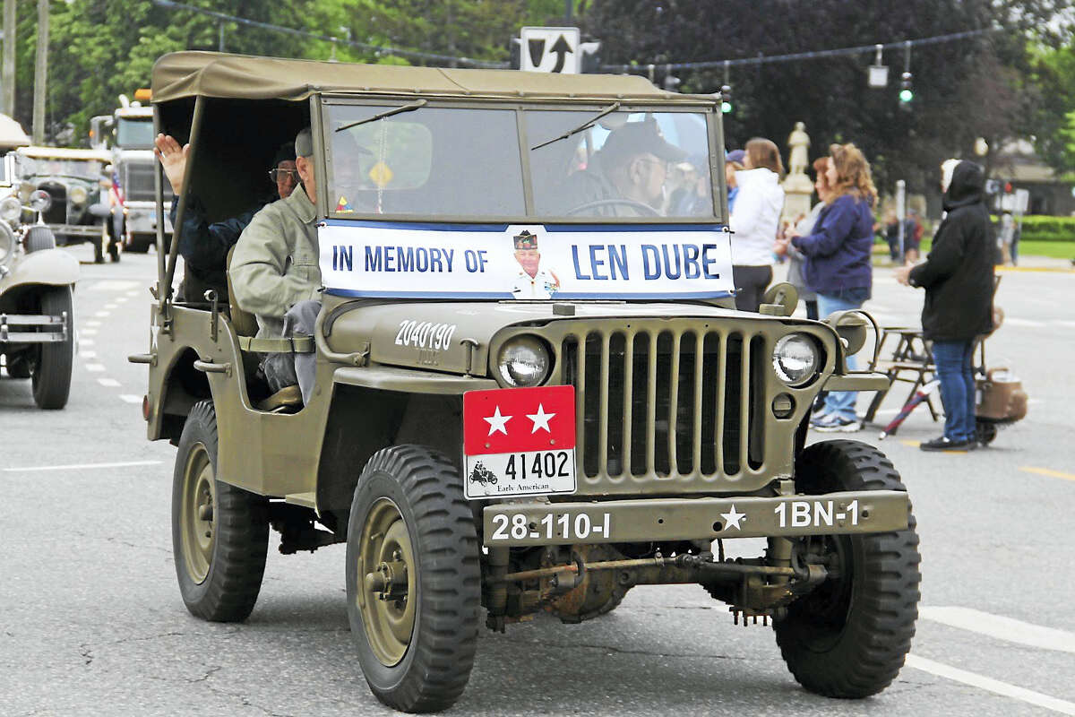 A jeep in the Memorial Day parade on Monday reminded residents to honor Dube.