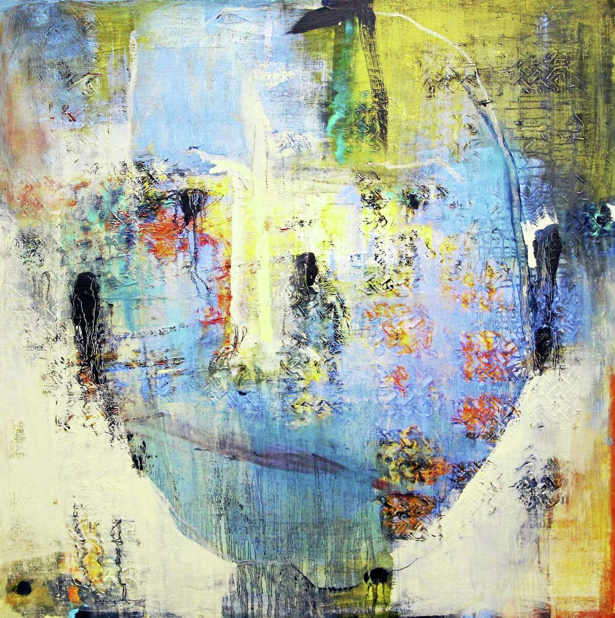 """""""Head,"""" a painting by Patricia Carrigan, is part of her exhibit at Five Points Gallery, """"Headlands."""" The show joins exhibits including """"Watch your step!"""" by Cat Balco and works by Eva Stengade."""