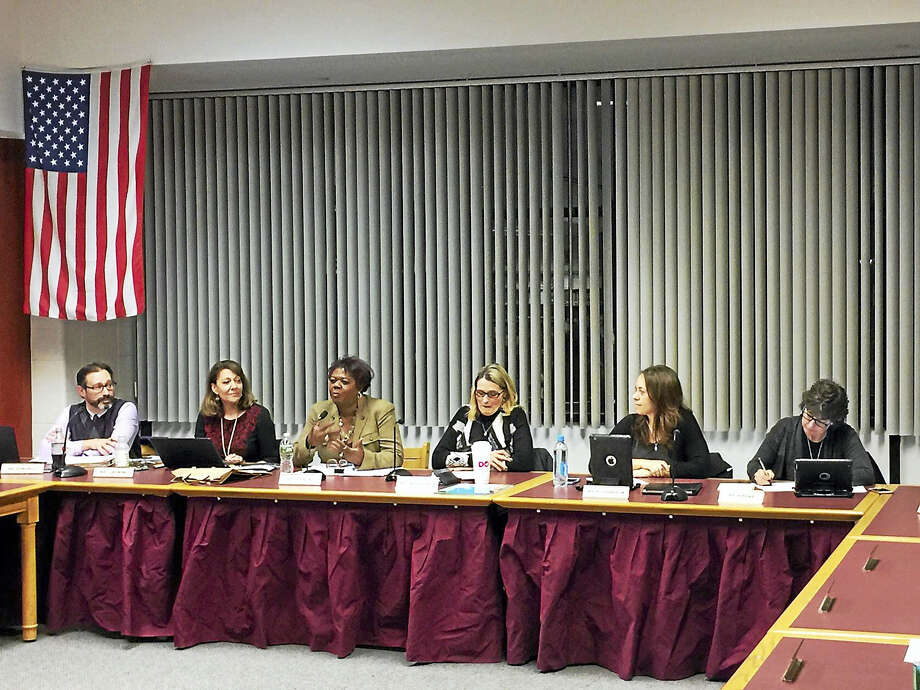 Torrington Superintendent of Schools Denise Clemons discusses her first week in the position with the Board of Education during its meeting last Wednesday, Jan. 25. Photo: Ben Lambert — The Register Citizen