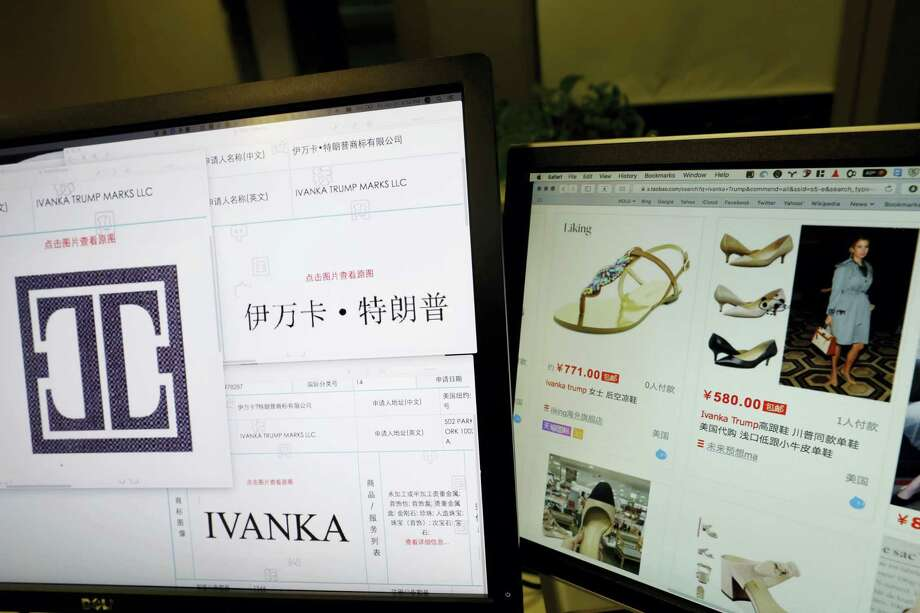 Ng Han Guan — AP Photo, file In this file photo taken Friday, April 21, 2017, Trademark applications from Ivanka Trump Marks LLC images taken off the website of China's trademark database are displayed next to a Chinese online shopping website selling purported Ivanka Trump branded footwear on computer screens in Beijing, China. Three men investigating a company in China that produces Ivanka Trump brand shoes are missing, according to Li Qiang who runs China Labor Watch, a New York-based labor rights group that was planning to publish a report in June, 2017, about low pay, excessive overtime and the possible misuse of student interns at one of the company's factories. Photo: AP / Copyright 2017 The Associated Press. All rights reserved.
