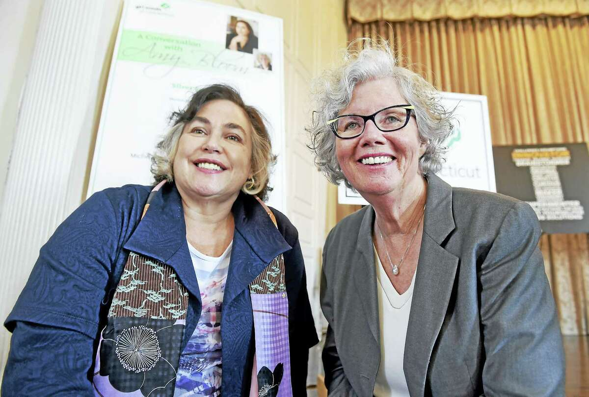 """Author Amy Bloom left, and interviewer WNPR host Faith Middletown during a """"Conversation with Amy Bloom"""" Girls Scouts of Connecticut fundraiser at the New Haven Lawn Club Wednesday in New Haven."""