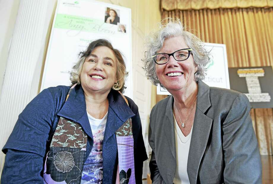 """Author Amy Bloom left, and interviewer WNPR host Faith Middletown during a """"Conversation with Amy Bloom"""" Girls Scouts of Connecticut fundraiser at the New Haven Lawn Club Wednesday in New Haven. Photo: Peter Hvizdak — New Haven Register  / ?2017 Peter Hvizdak"""