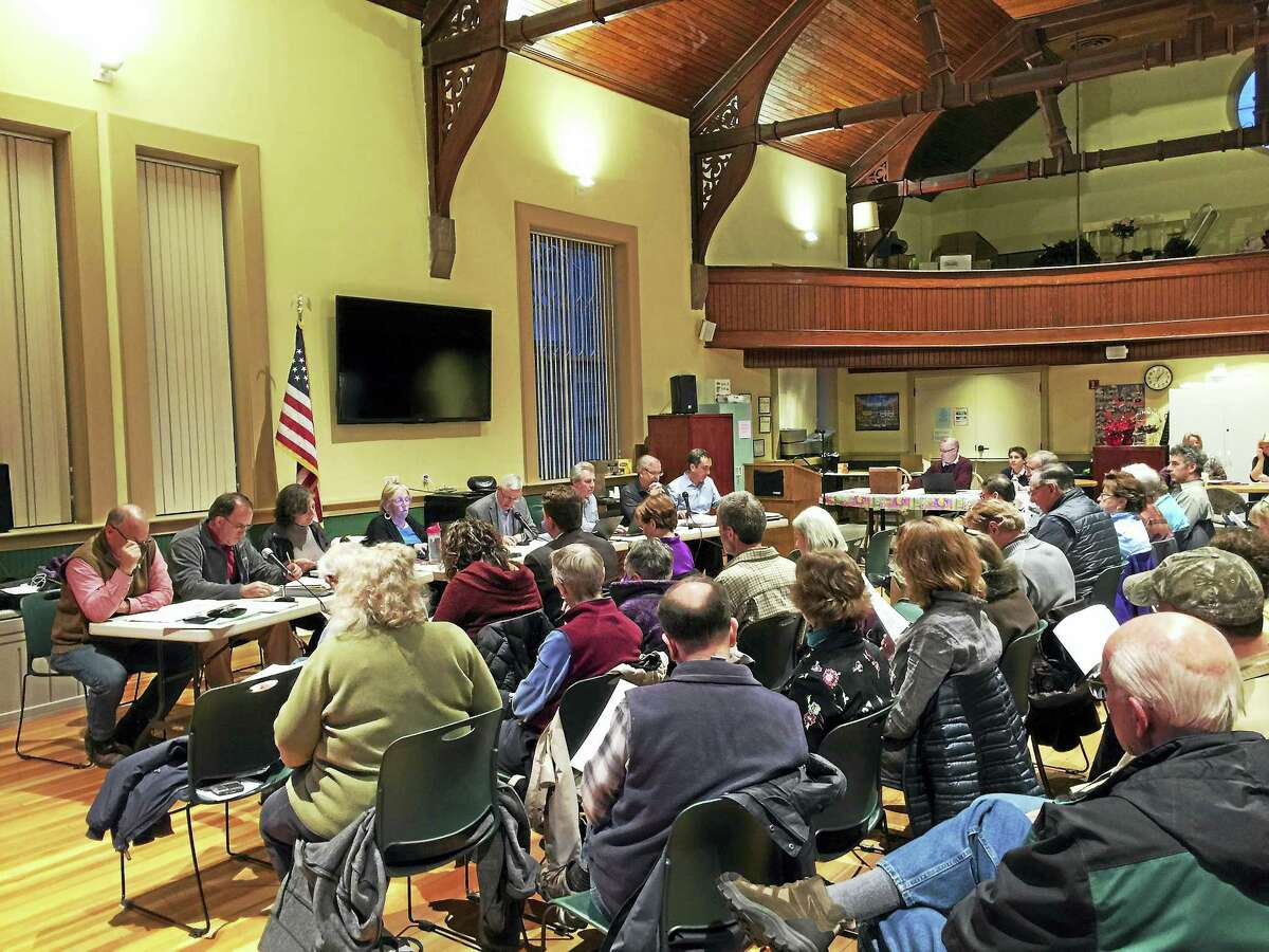 The New Hartford Board of Finance sent a draft budget proposal forward for consideration after holding a public hearing Tuesday.