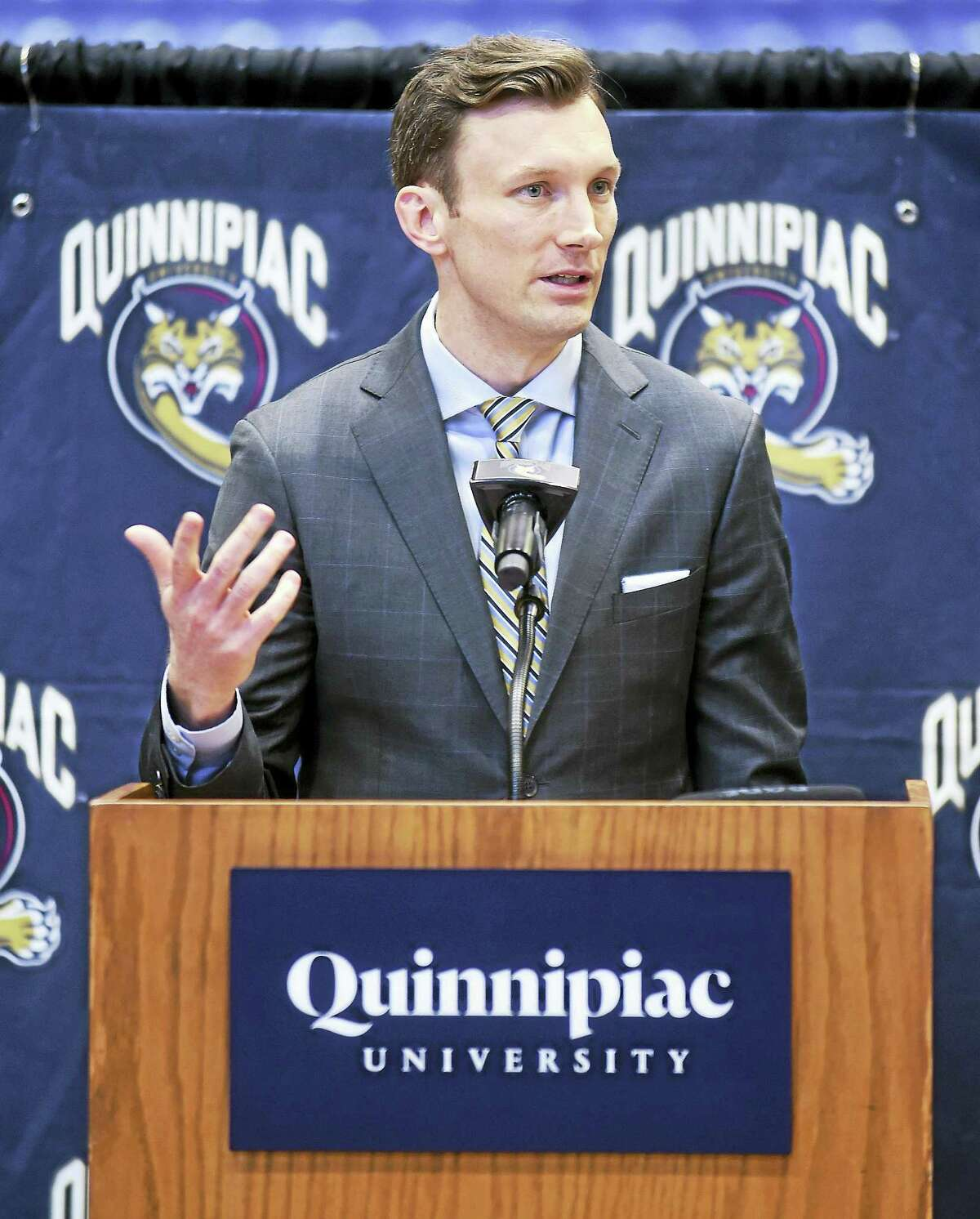 Baker Dunleavy speaks at Tuesday's press conference.