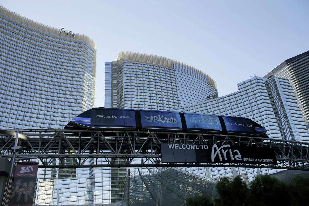 John Locher — the associated press A tram travels by the front of the Aria Resort & Casino, in Las Vegas.