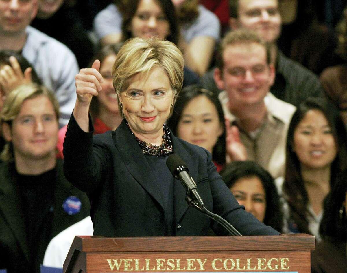 In this Nov. 1, 2007, file photo, then-U.S. Sen. Hillary Clinton, D-N.Y., speaks at Wellesley College in Wellesley, Mass., her alma mater.