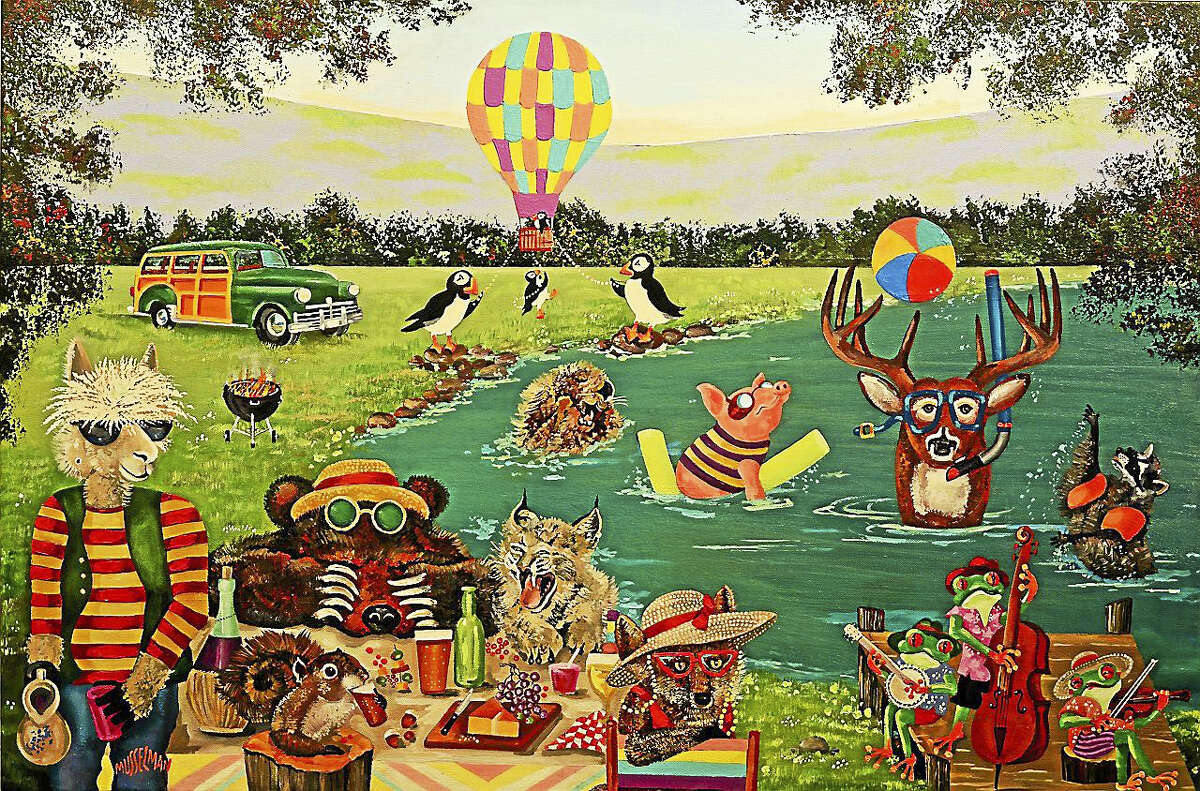 Pond Party, acrylic, by Ken Musselman.