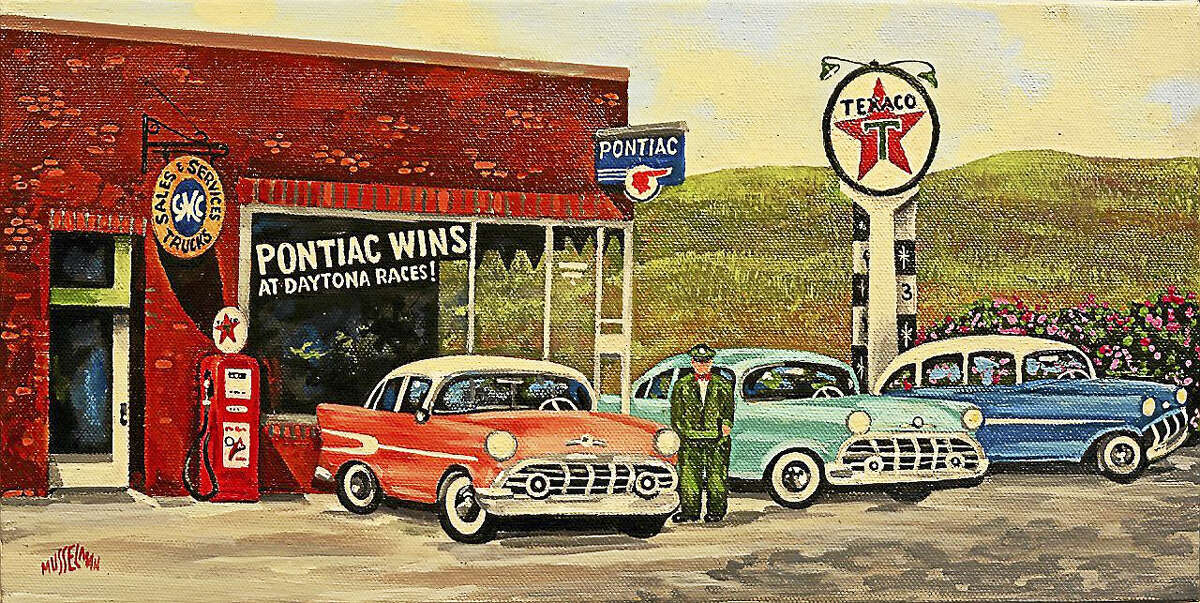 Jacob's Garage, acrylic, 1958, by Ken Musselman.