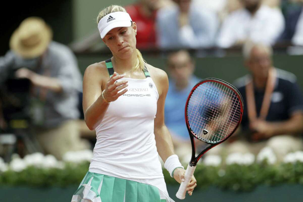 Germany's Angelique Kerber reacts as she plays Russia's Ekaterina Makarova on Sunday.