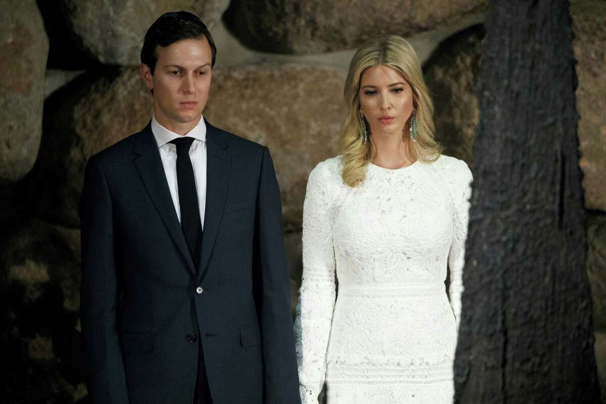 In this May 23, 2017 photo, White House senior adviser Jared Kushner, left, and his wife Ivanka Trump watch during a visit by President Donald Trump to Yad Vashem to honor the victims of the Holocaust in Jerusalem. The Washington Post is reporting that the FBI is investigating meetings that Trump's son-in-law, Kushner, had in December 2016, with Russian officials. Kushner, a key White House adviser, had meetings late last year with Russia's ambassador to the U.S., Sergey Kislyak, and Russian banker Sergey Gorkov.