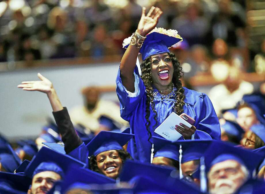 Gateway Community College's class of 2017 celebrates at the twenty-fifth commencement exercises on May 25, 2017 at the Oakdale Theatre in Wallingford. Photo: Catherine Avalone — New Haven Register  / Catherine Avalone/New Haven Register