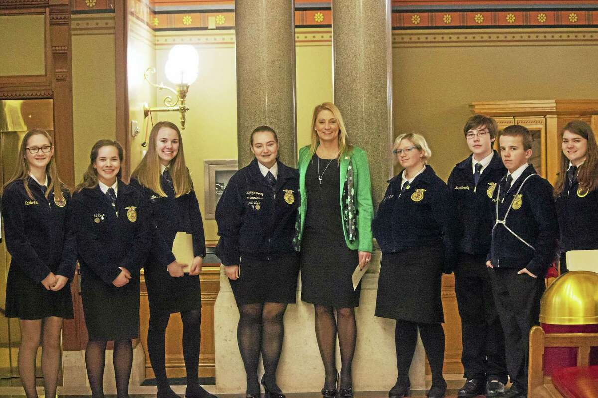 State Rep. Michelle Cook, D-Torrington, joined Vo-ag students from Wamogo, Housatonic Valley, Northwestern, Nonnewaug, Ledyard and Southington visiting the Capitol for Ag Day.