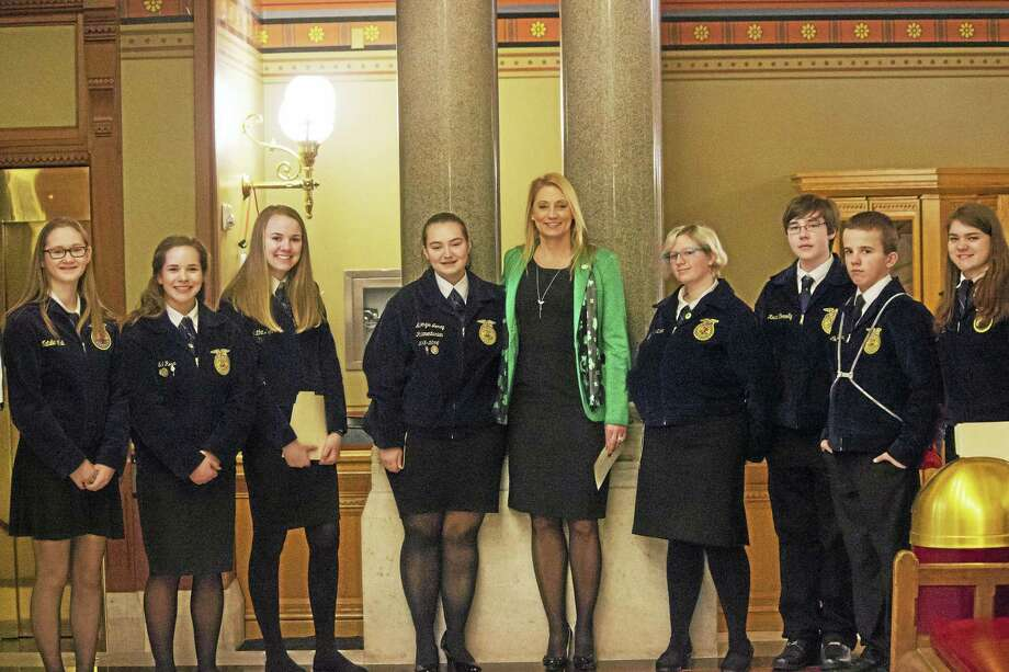State Rep. Michelle Cook, D-Torrington, joined Vo-ag students from Wamogo, Housatonic Valley, Northwestern, Nonnewaug, Ledyard and Southington visiting the Capitol for Ag Day. Photo: Contributed Photo