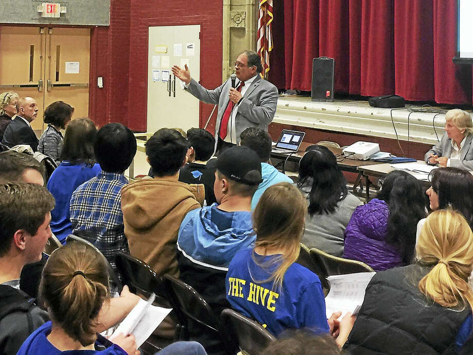 Proposed budgets for the Winchester Public Schools and The Gilbert School were presented during a public hearing Monday. Above, Gilbert School Superintendent Anthony Serio speaks during the hearing. Photo: Ben Lambert — The Register Citizen