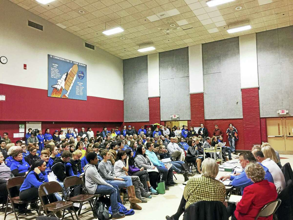 Proposed budgets for the Winchester Public Schools and The Gilbert School were presented during a public hearing Monday. A sizable crowd of residents attended the hearing.