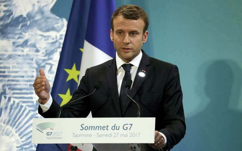 French President Emmanuel Macron speaks during a G-7 closing news conference in the Sicilian town of Taormina, Italy, Saturday, May 27, 2017. Photo: AP Photo/Andrew Medichini   / Copyright 2017 The Associated Press. All rights reserved.