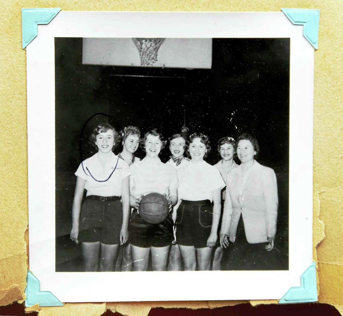 Barbara Lupino Mecca, far left, and the 1952-53 Quinnipiac College women's basketball team.