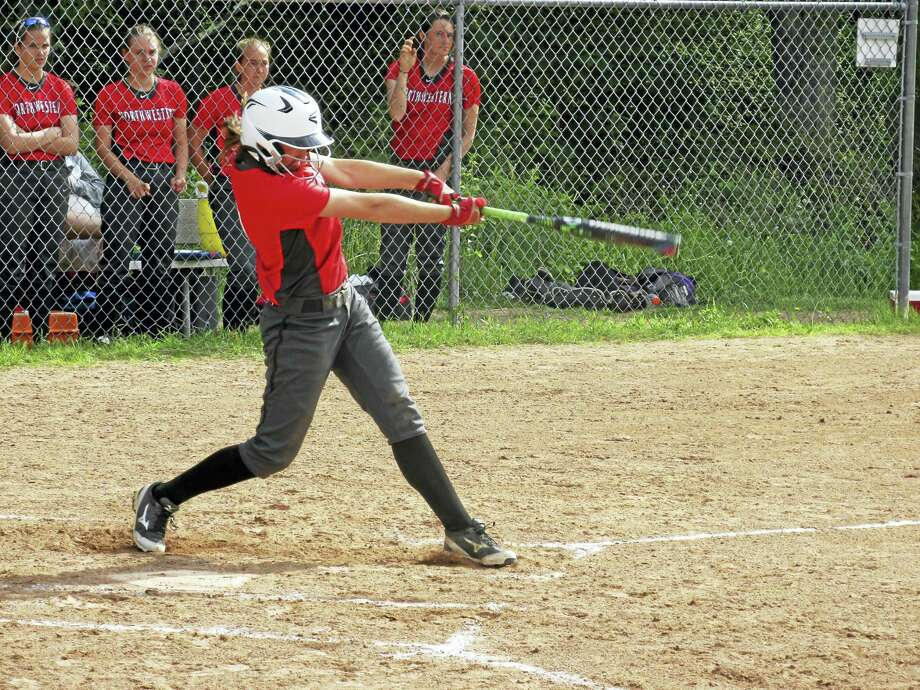 Freshman Jana Sanden pounded 7 RBI in Northwestern's league championship win at Thomaston High School Wednesday afternoon. Photo: Peter Wallace Photo