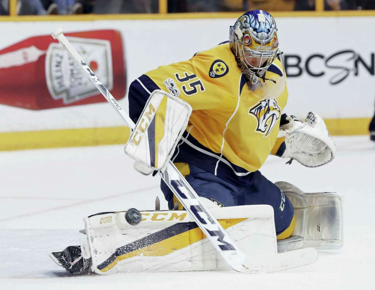 Nashville Predators goalie Pekka Rinne (35), of Finland, stops a shot against the Anaheim Ducks during the first period in Game 6 of the Western Conference final in the NHL hockey Stanley Cup playoffs Monday in Nashville, Tenn.