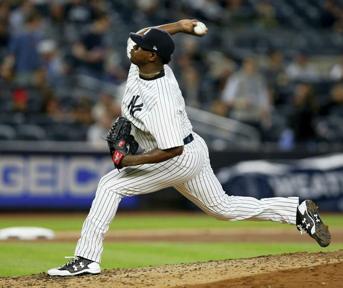 New York Yankees starting pitcher Luis Severino winds up in the sixth inning of a baseball game against the Royals at Yankee Stadium in New York on Wednesday.