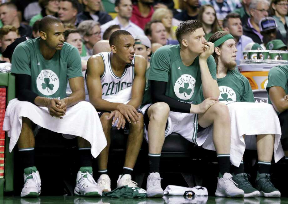 From left, the Celtics' Al Horford, Avery Bradley, Jonas Jerebko and Kelly Olynyk watch from the bench during Game 5 on Thursday. Photo: Elise Amendola — The Associated Press  / Copyright 2017 The Associated Press. All rights reserved.