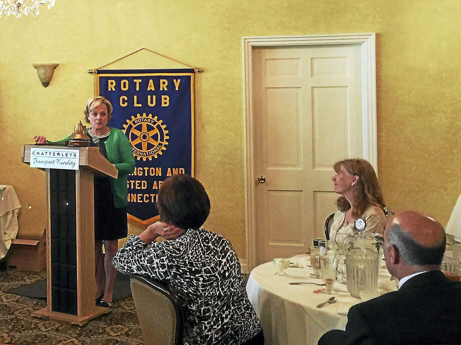 Mayor Elinor Carbone addresses the Torrington-Winsted Area Rotary Club Tuesday. Photo: Ben Lambert — The Register Citizen