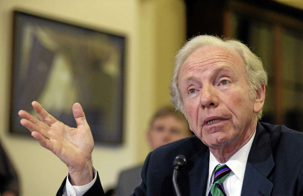 """Former Sen. Joe Lieberman, I-Conn., testifies before the House Homeland Security Committee at a hearing on """"The Boston Bombings: A First Look,"""" on Capitol Hill in Washington, Thursday, May 9, 2013."""