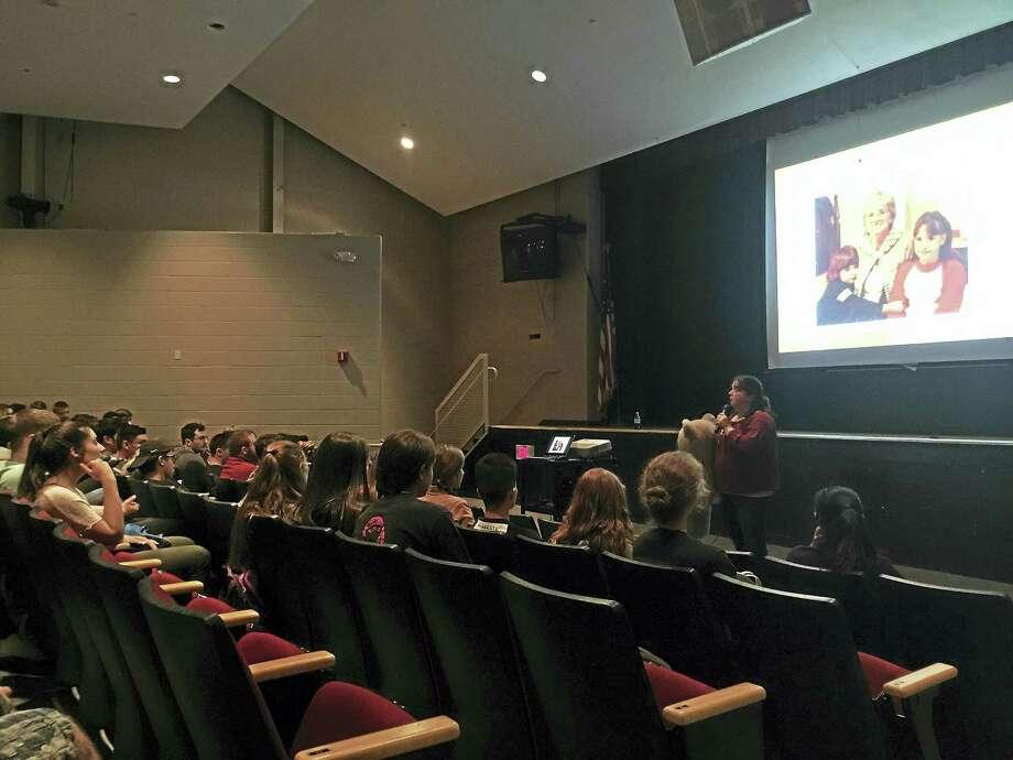 Teacher Erin Sullivan speaks to Torrington High School students about the dangers of drunk driving Thursday, ahead of the senior prom on Friday night. Photo: Ben Lambert — The Register Citizen