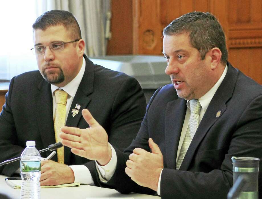 State Reps. Brian Ohler, R-Canaan, and Jay Case, R-Winsted, discuss sober home legislation at a recent roundtable. Photo: Contributed Photo