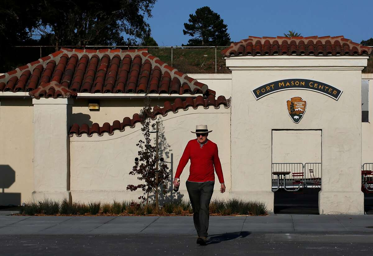 A man who preferred not to be named walks in front of the entrance to the Fort Mason Center for Arts & Culture August 22, 2017 in San Francisco, Calif.