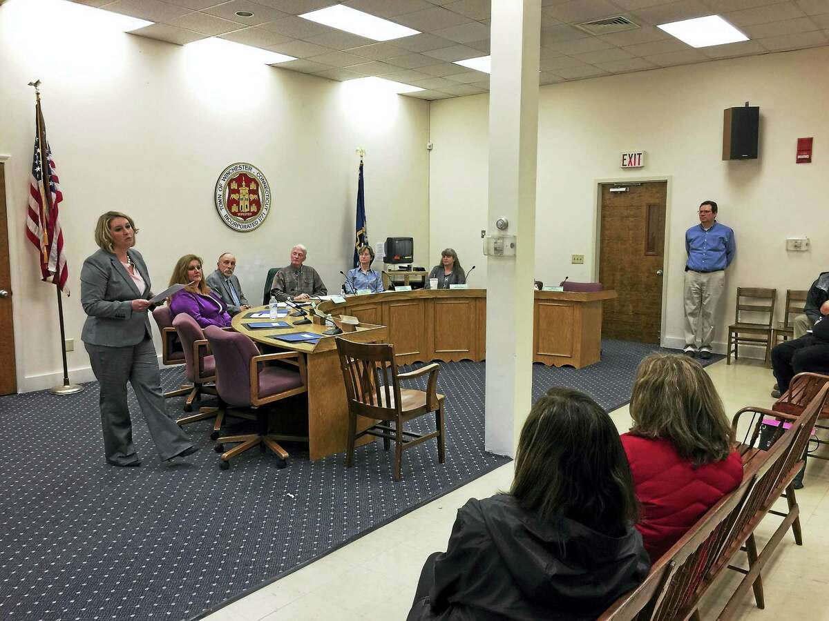 Melody Brady-Shanley was announced Thursday as the new superintendent for Winsted public schools. Above, she speaks during the school board's special meeting on Thursday.