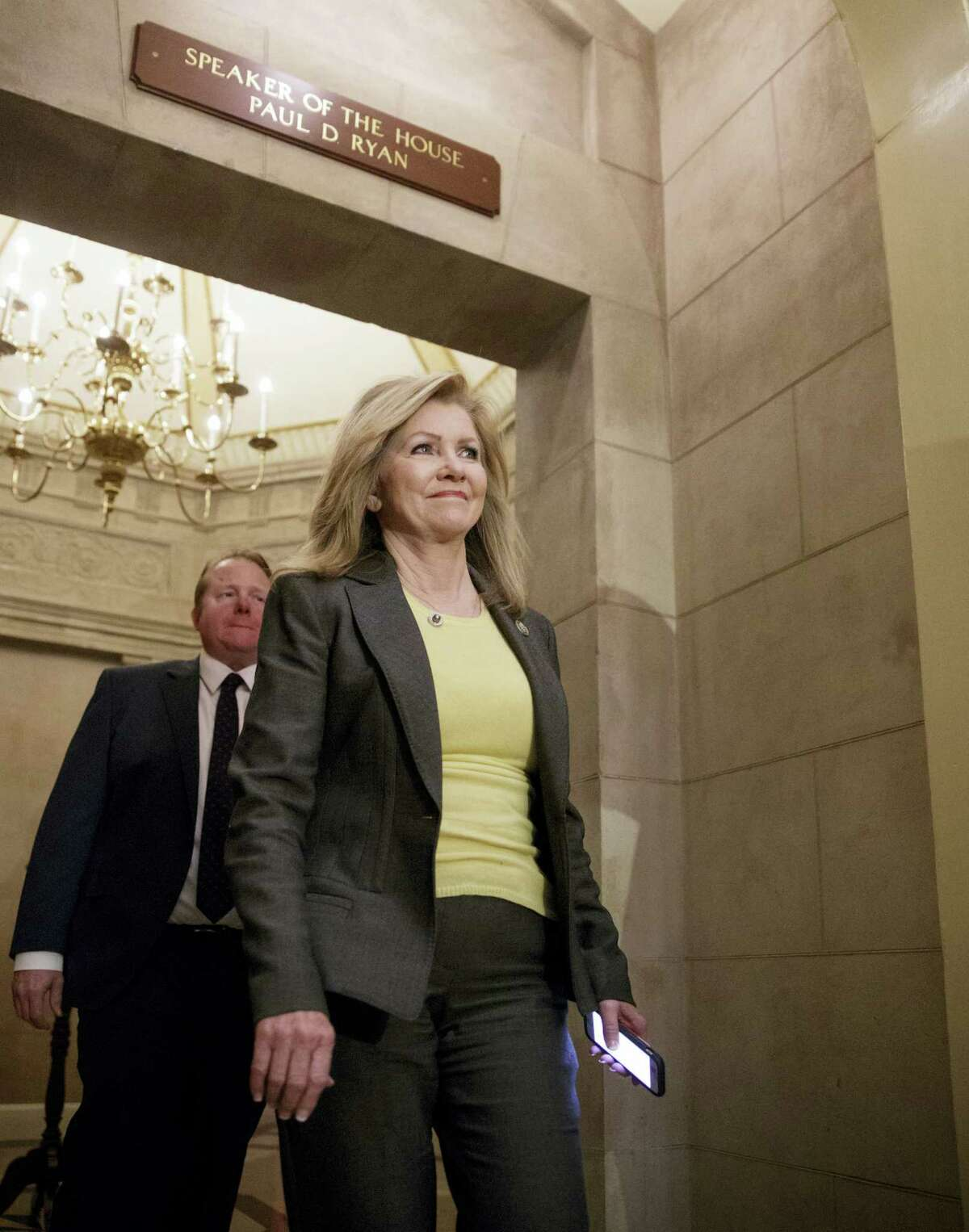 """Rep. Marsha Blackburn, R-Tenn., leaves the office of House Speaker Paul Ryan on Capitol Hill in Washington, Thursday, March 23, 2017, after a meeting with other Republicans to rally support for GOP's long-promised legislation to repeal and replace """"Obamacare"""" as it moves toward a showdown vote."""