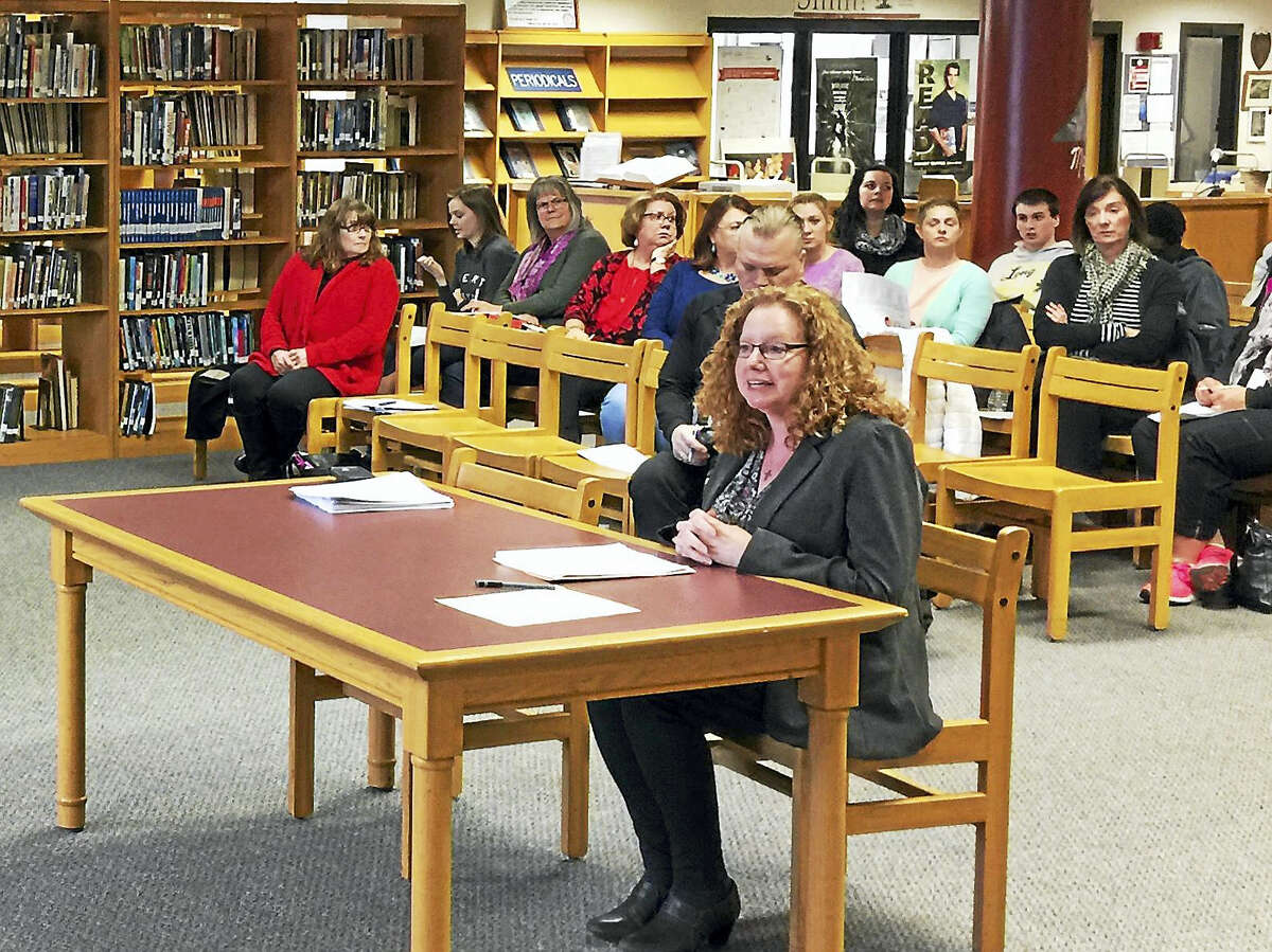 Ben Lambert - The Register Citizen Teacher Veronica Gelormino speaks during a hearing Thursday on the proposed Torrington school budget for the 2017-18 fiscal year.