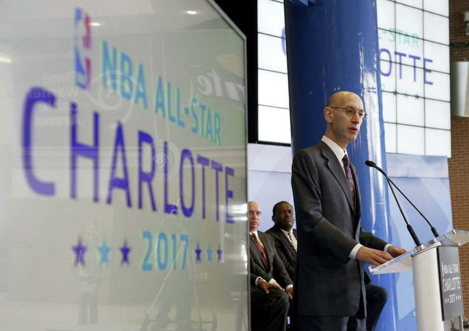 In this June 23, 2015 photo, NBA Commissioner Adam Silver speaks during a news conference to announce Charlotte, N.C. as the site of the 2017 NBA All-Star basketball game. The NBA All-Star game will be coming to Charlotte in 2019, two years after the city was to host the event, the NBA announced on May 24, 2017. The All-Star game had been set for Charlotte last February, but the NBA moved the game to New Orleans because of the state law restricting the rights of LGBT people. Photo: AP Photo — Chuck Burton  / Copyright 2017 The Associated Press. All rights reserved.