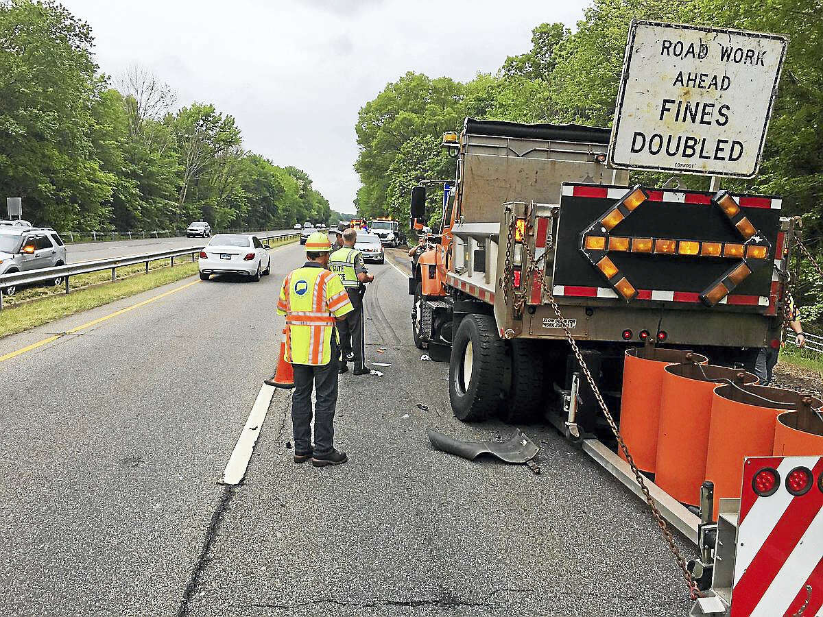 A state Department of Transportation worker was struck by a car Wednesday on Route 15 south in North Haven.