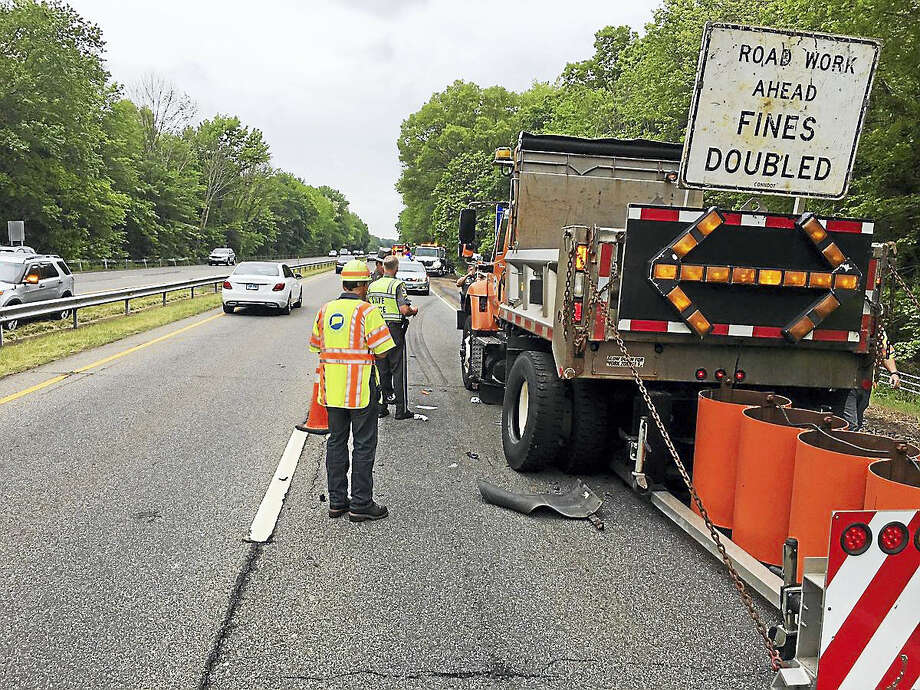 A state Department of Transportation worker was struck by a car Wednesday on Route 15 south in North Haven. Photo: Courtesy Of Connecticut State Police